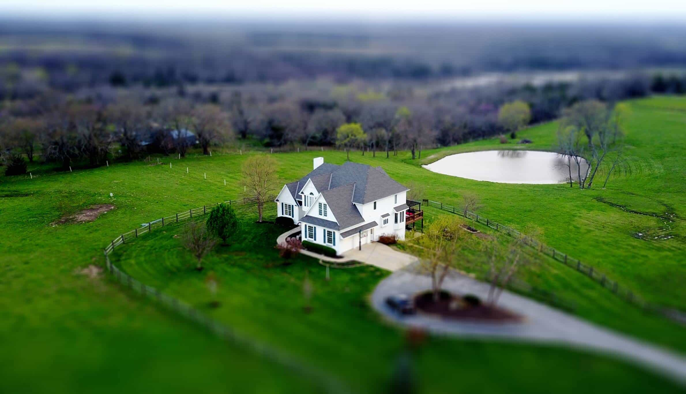 aerial shot of a house